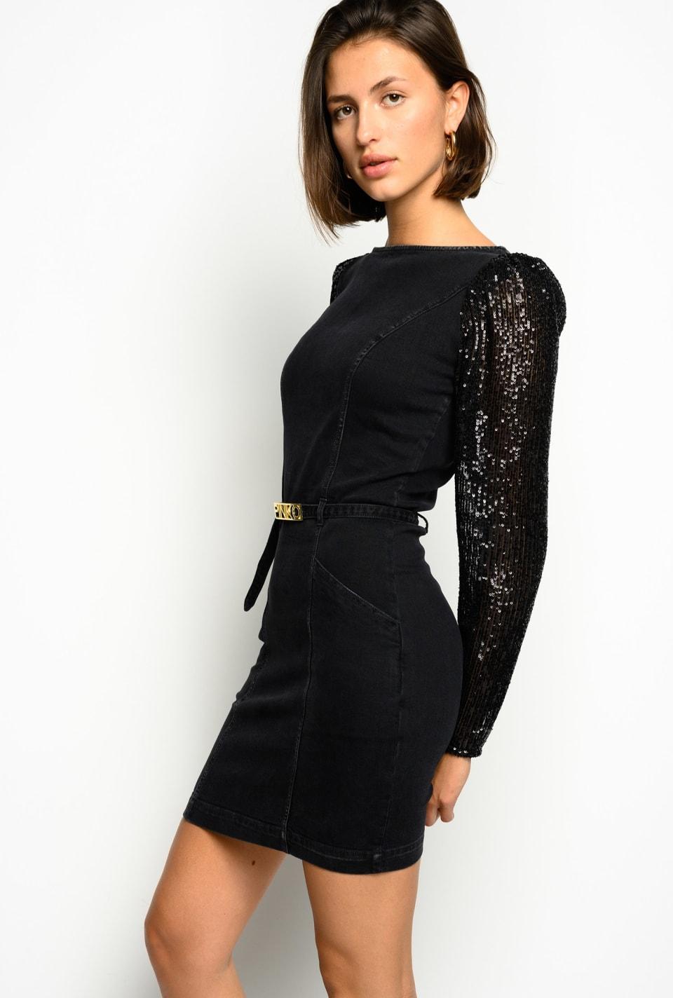 Denim sheath dress with sequin sleeves