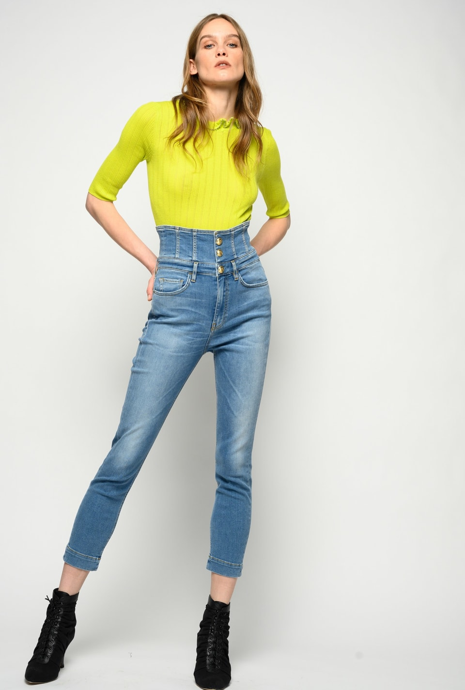 Super high-rise skinny jeans in soft stretch denim - Pinko
