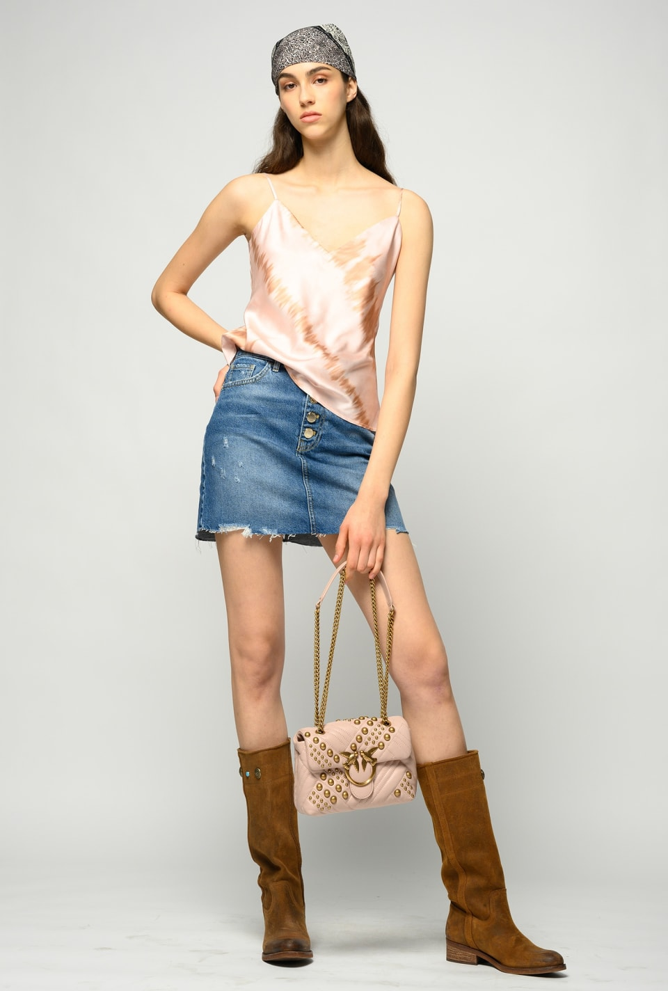 Miniskirt in denim with rips - Pinko