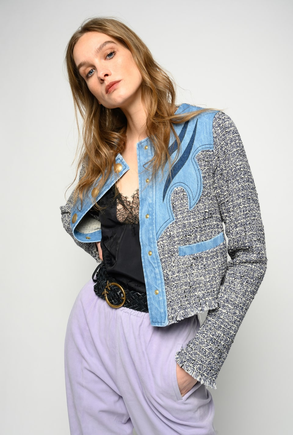 Boxy jacket in denim and bouclé tweed - Pinko