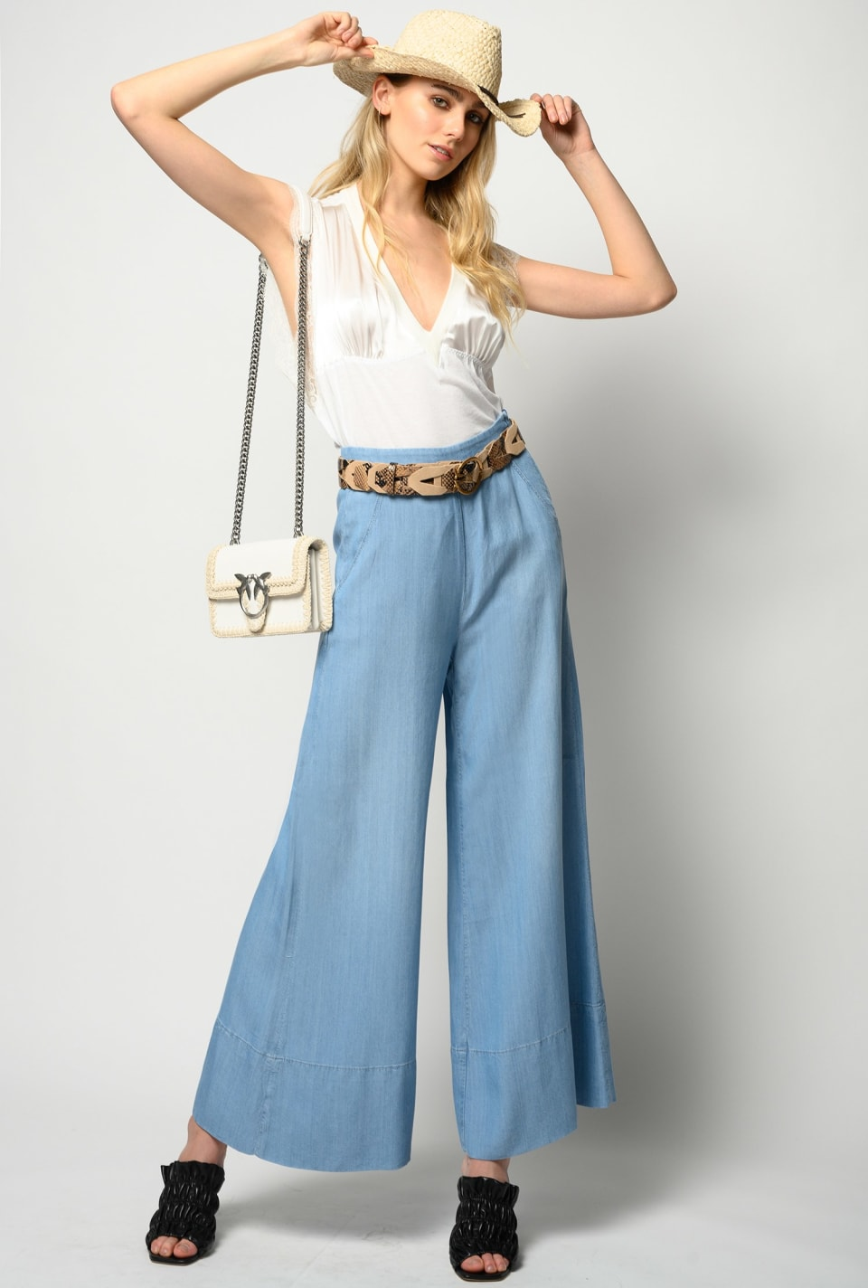 Cropped palazzo jeans in lyocell denim - Pinko