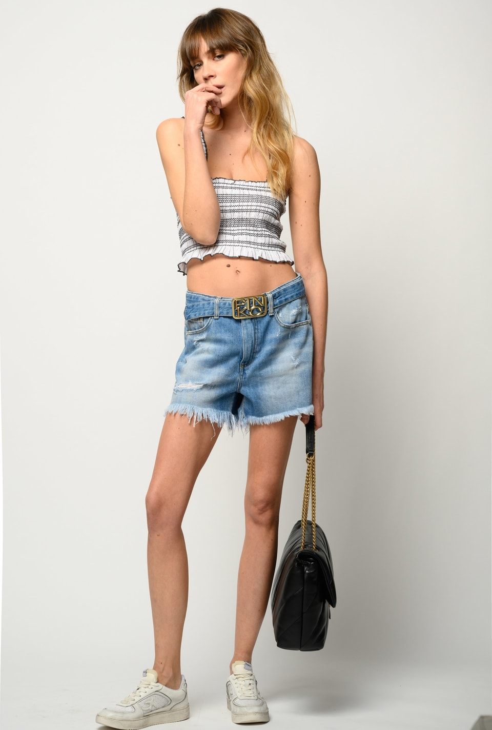 Denim shorts with Logo buckle - Pinko