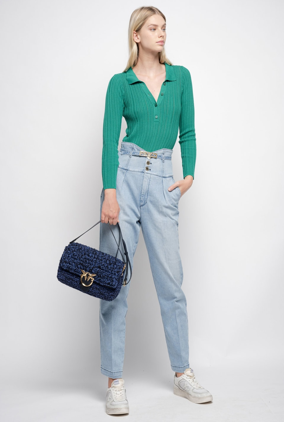 Bustier-style high-waist chino jeans - Pinko