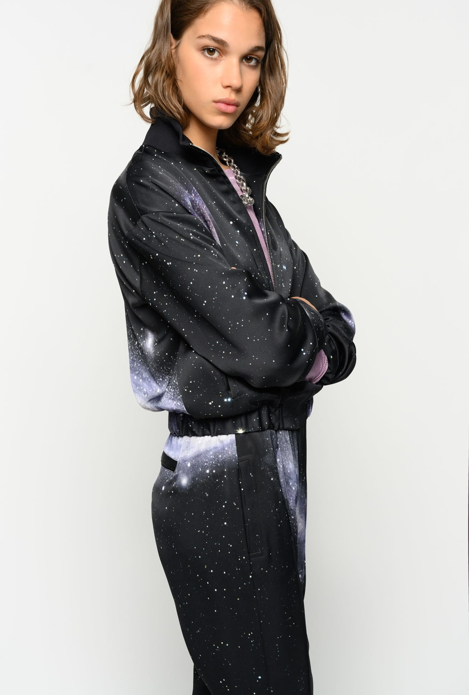 Galaxy-print satin bomber jacket