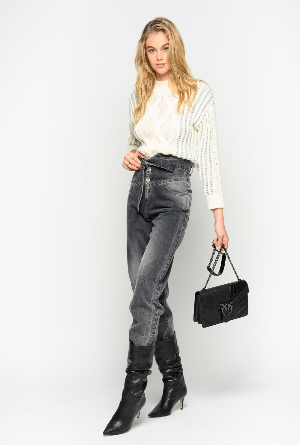 Bustier-style high-waist jeans