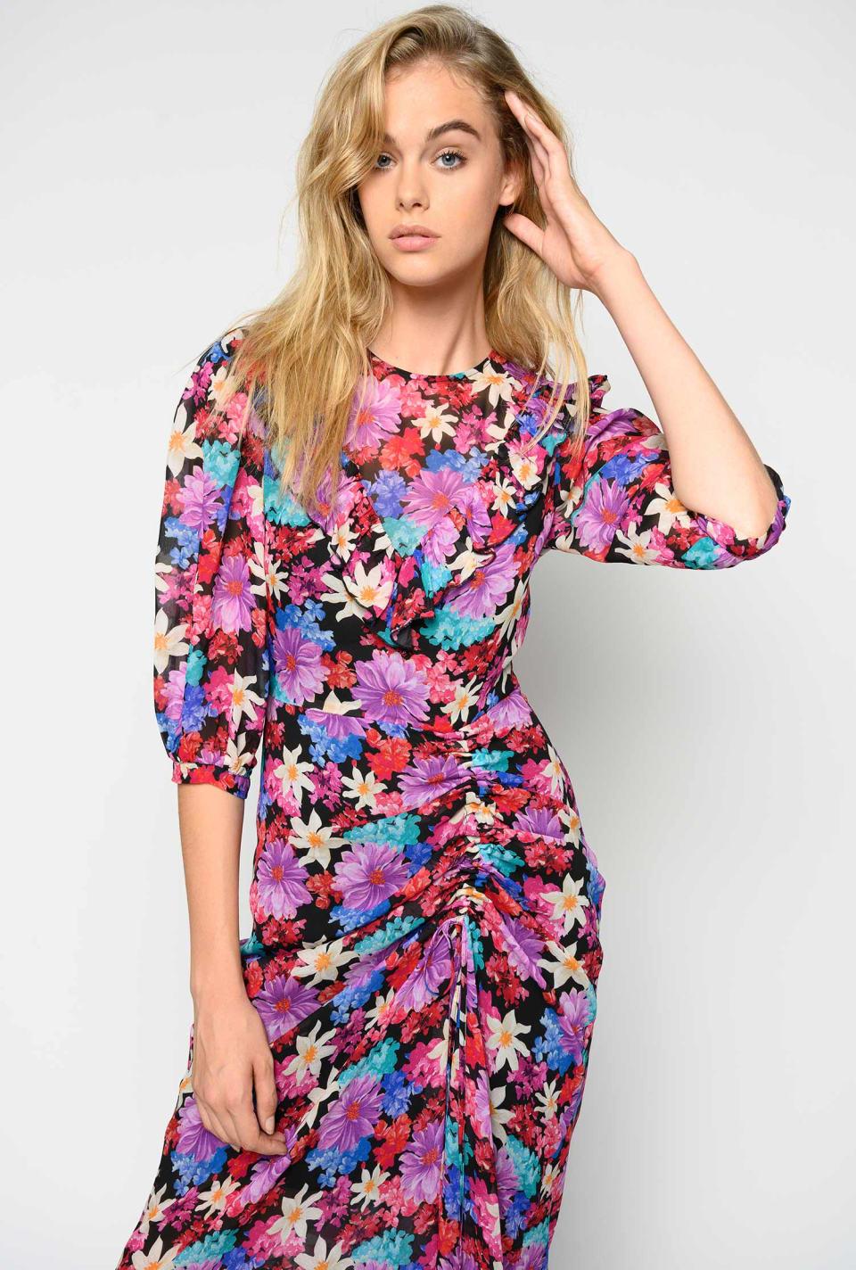Vestido largo con estampado floral