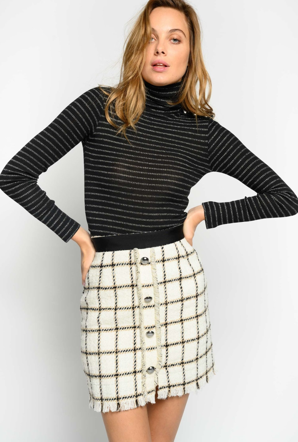 Lurex striped turtleneck sweater