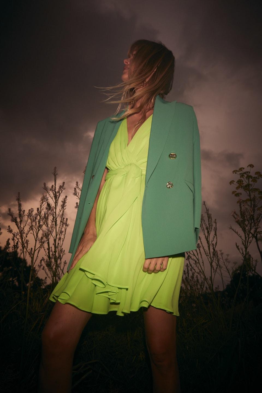 Color blazer in technical fabric