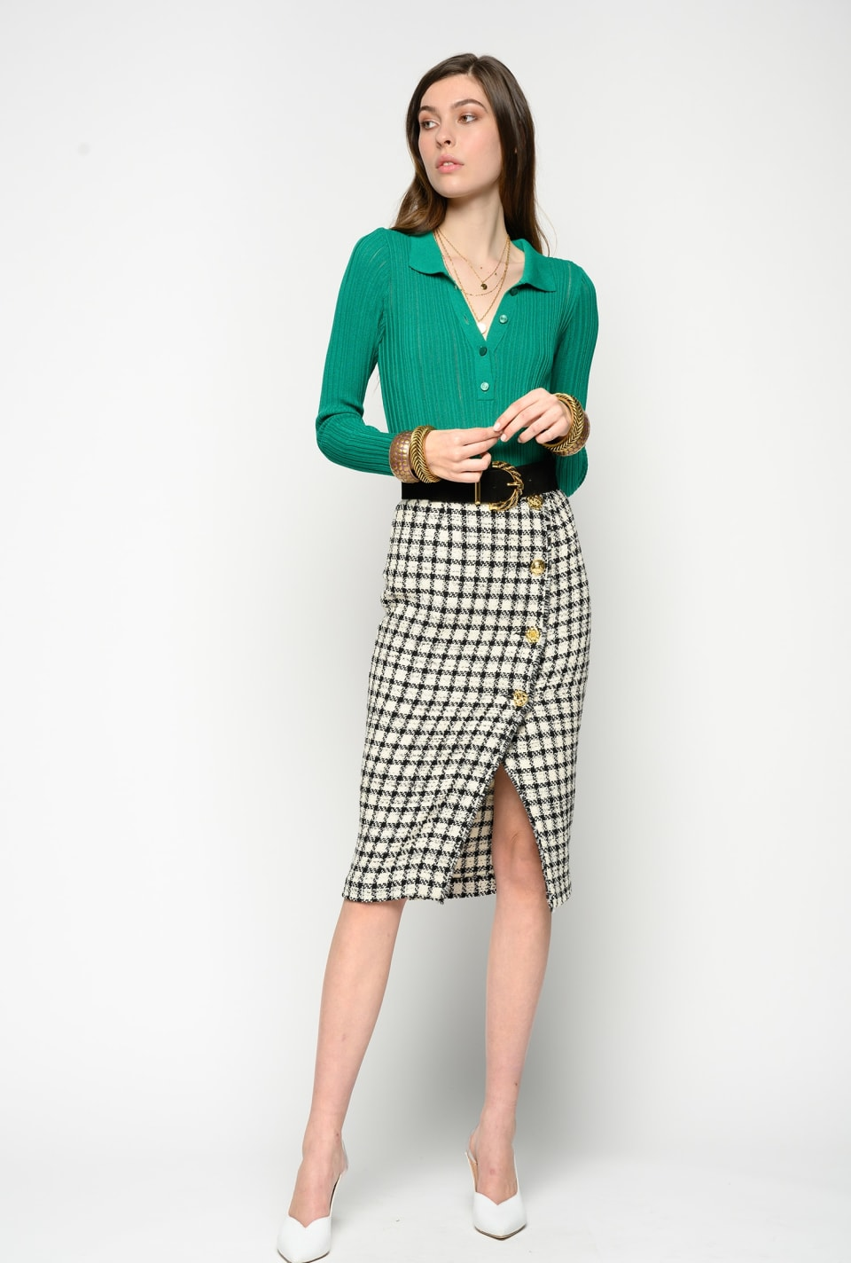 Check bouclé midi-length skirt