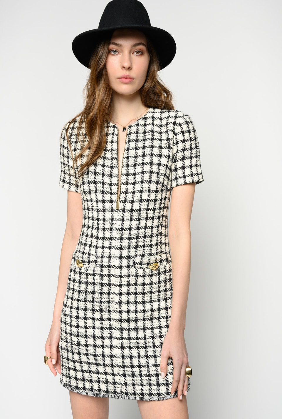 Short check bouclé dress