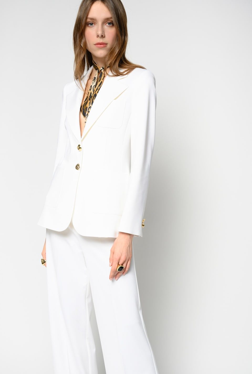 Scuba-effect blazer with jewel buttons