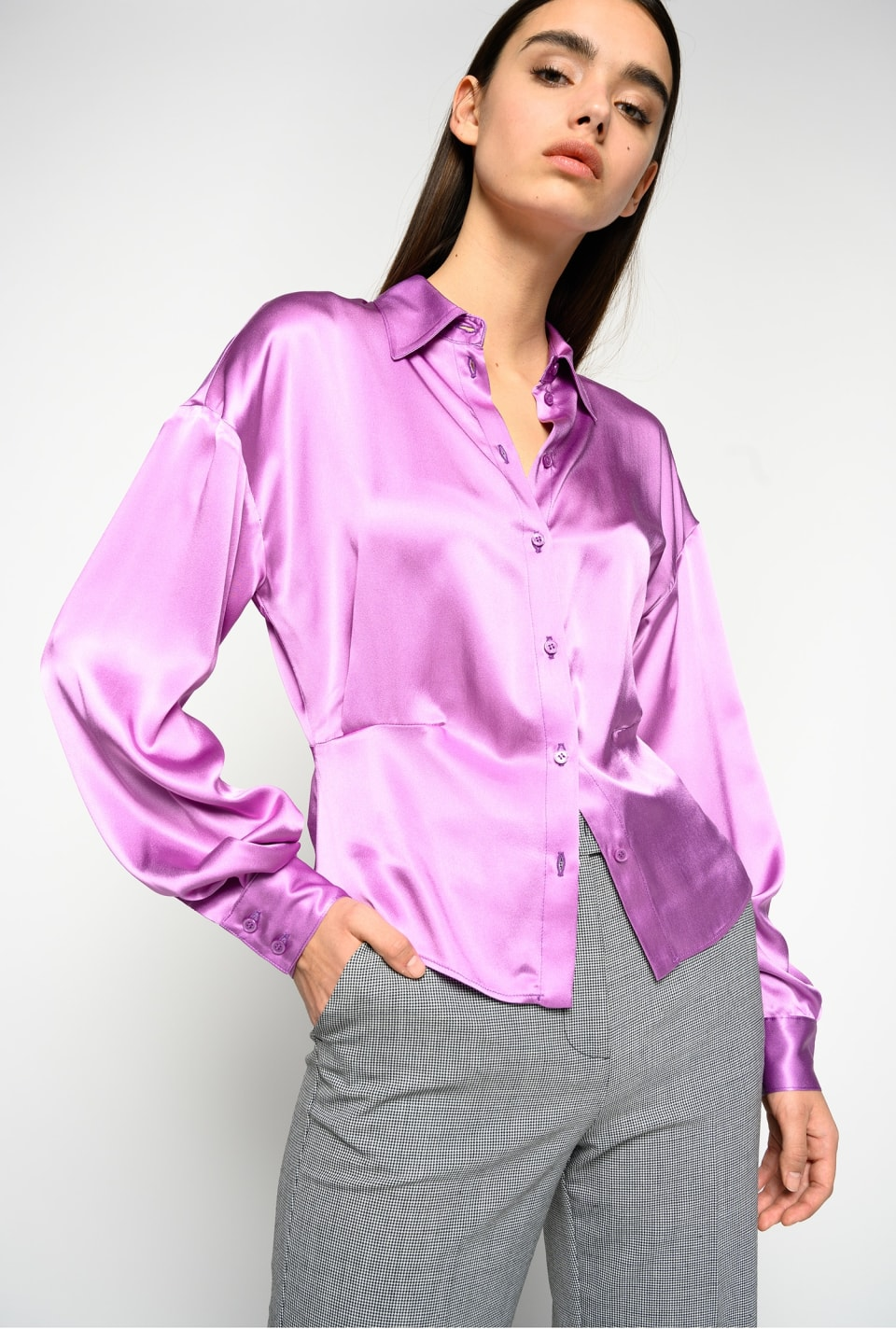 Camicia in satin acetato seta