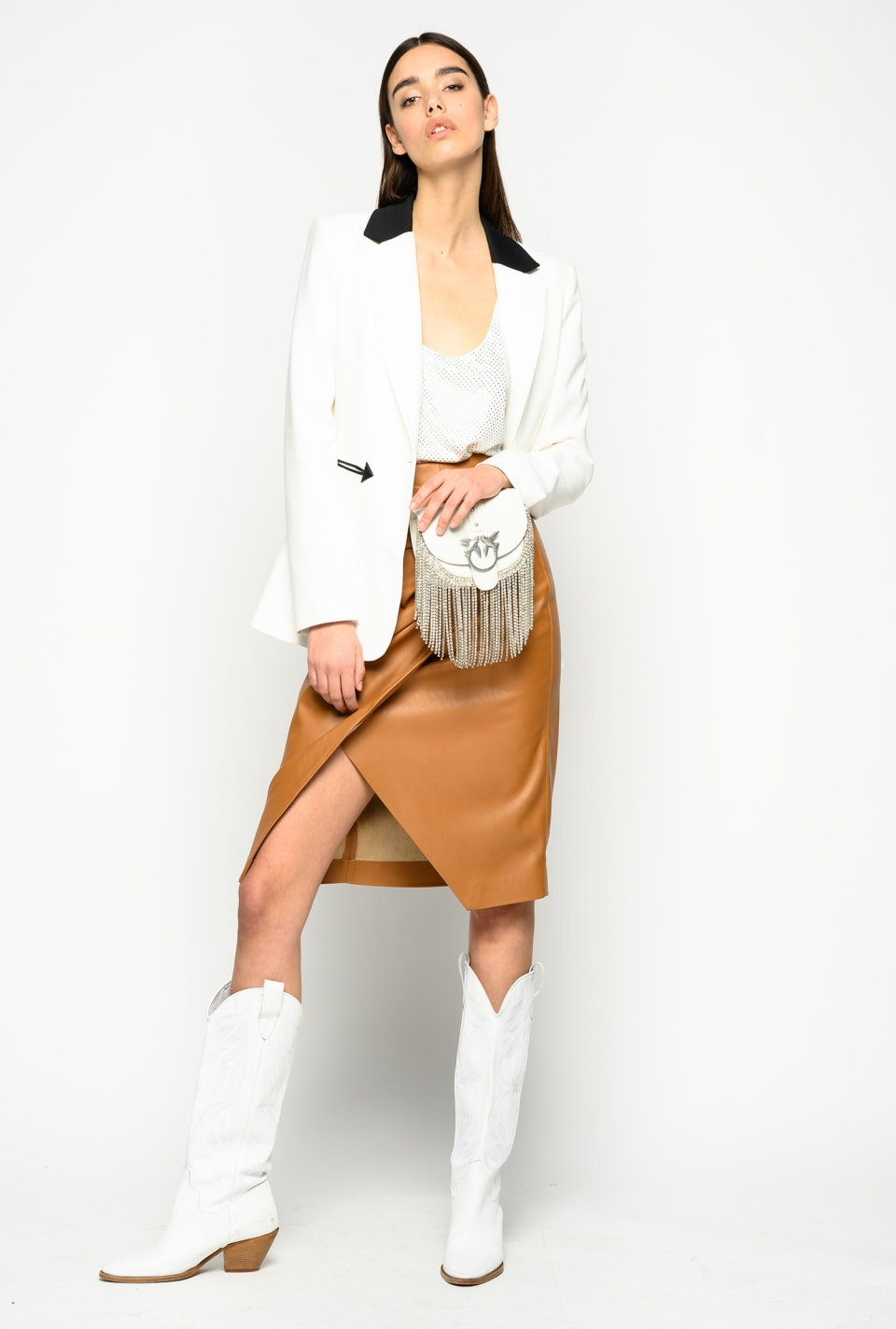 Leather-look midi-length skirt