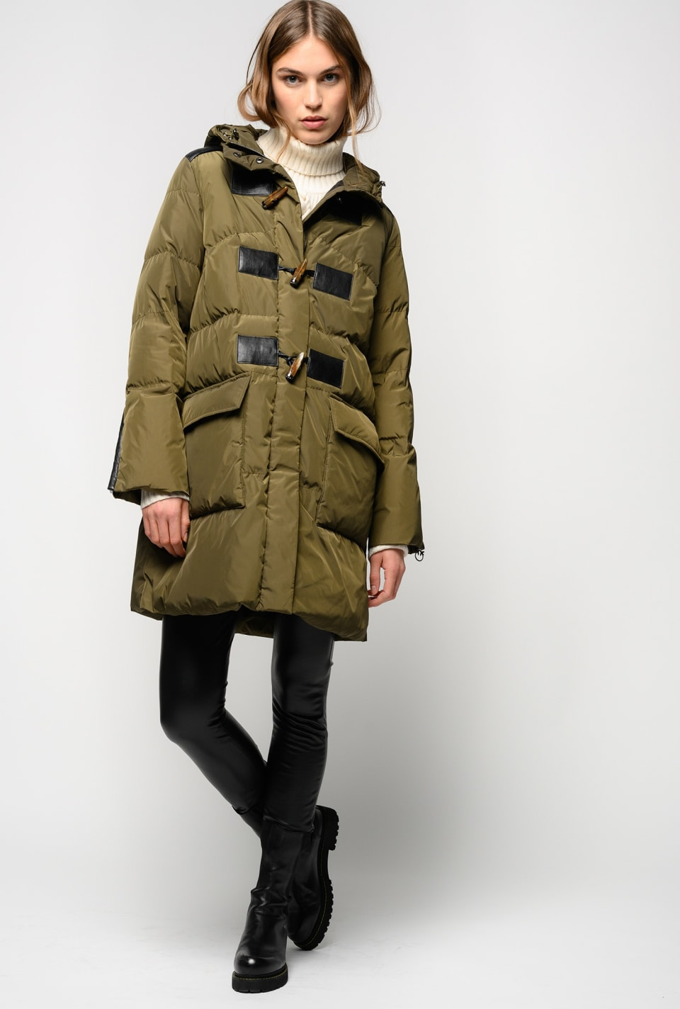 Midi-length quilted coat with tabs - Pinko