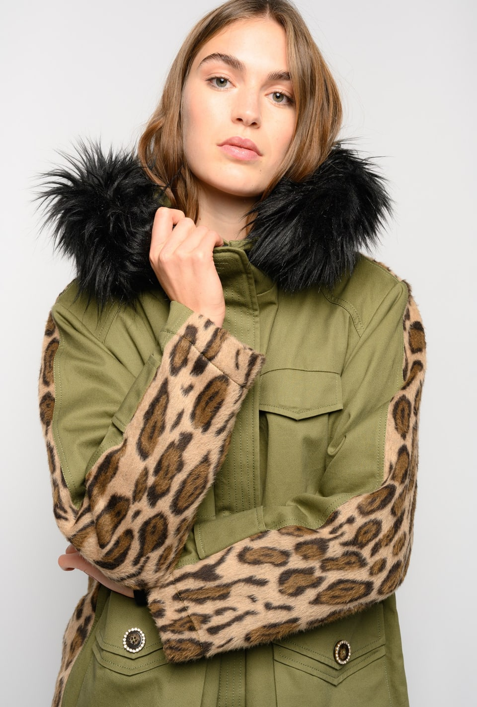 Parka with leopard-print back - Pinko