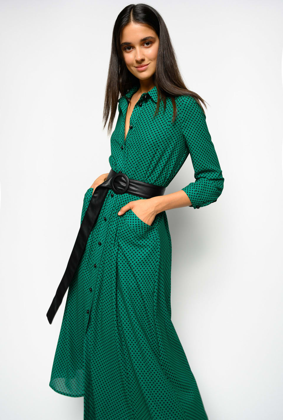 Longue robe chemisier à pois - Pinko