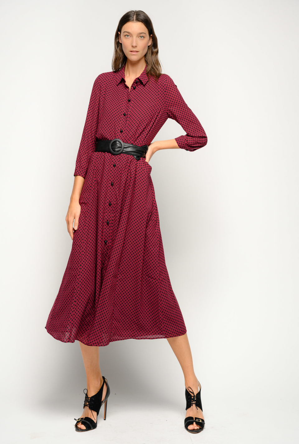Maxi polka-dot shirtwaister dress - Pinko