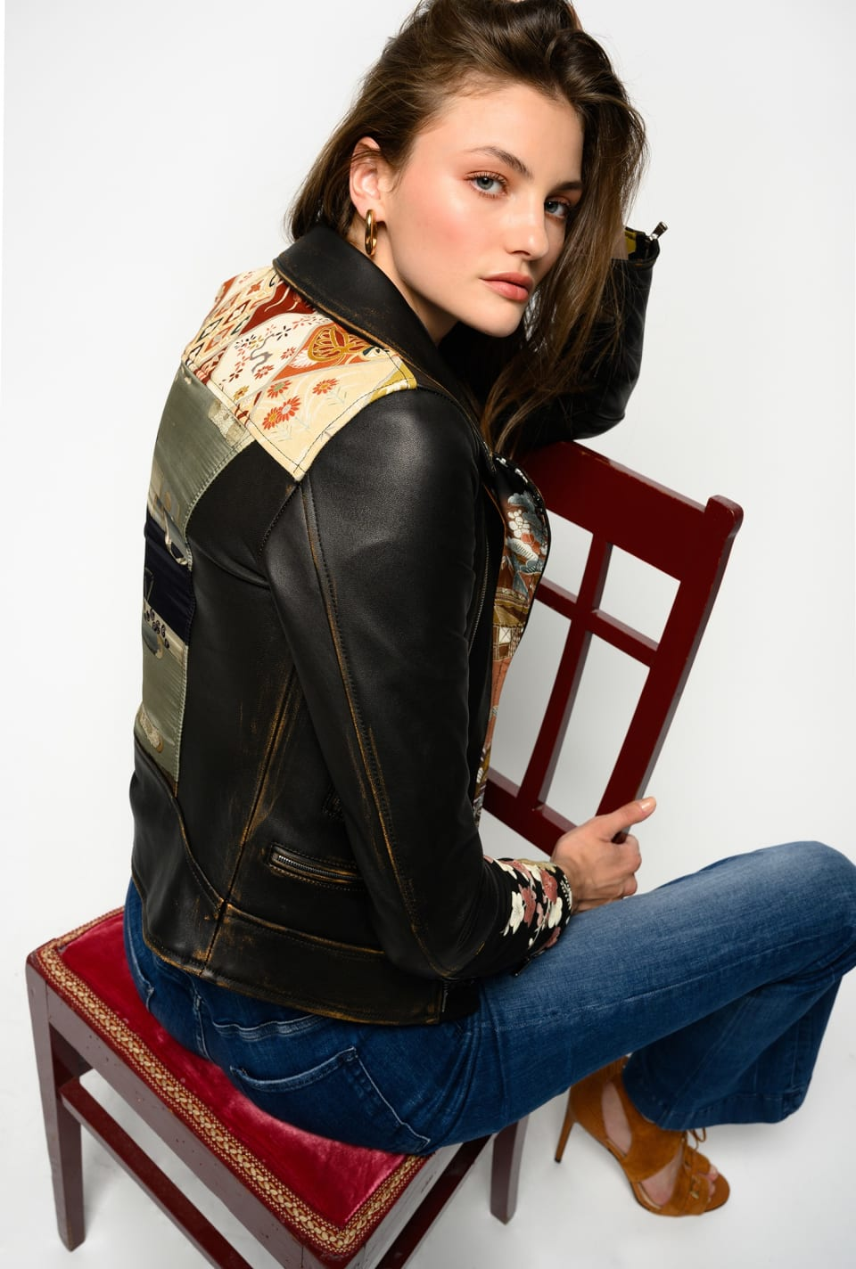Limited Edition biker jacket in leather and kimono in silk