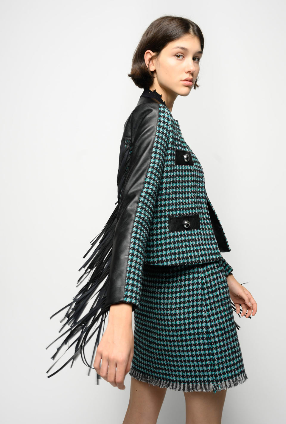 Tweed jacket with fringing - Pinko