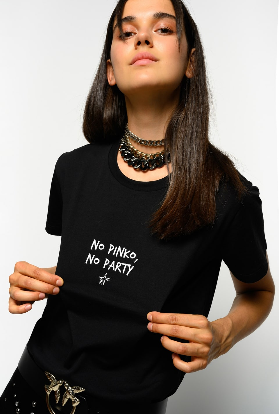 T-shirt « NO PINKO NO PARTY » - Pinko