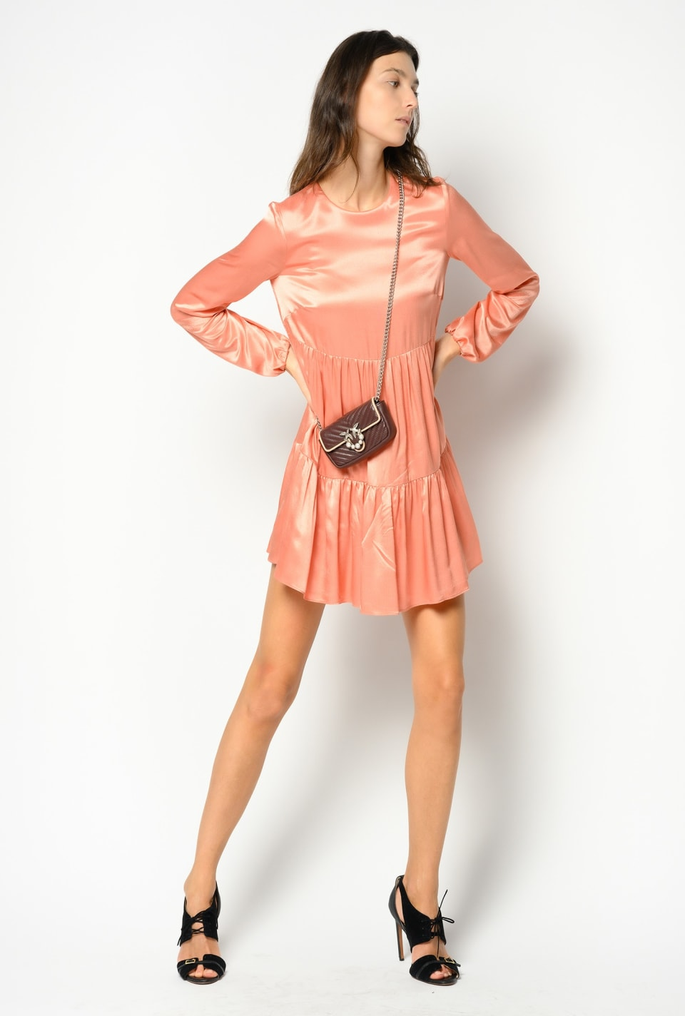 Short dress in froissé satin with flounces - Pinko