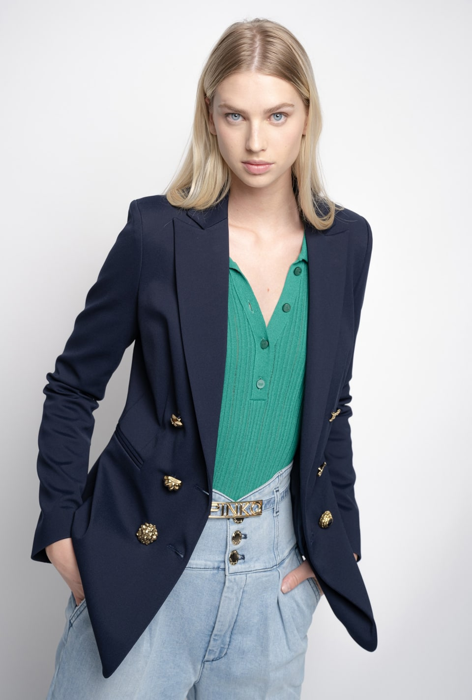 Sailor-style blazer with jewel buttons - Pinko