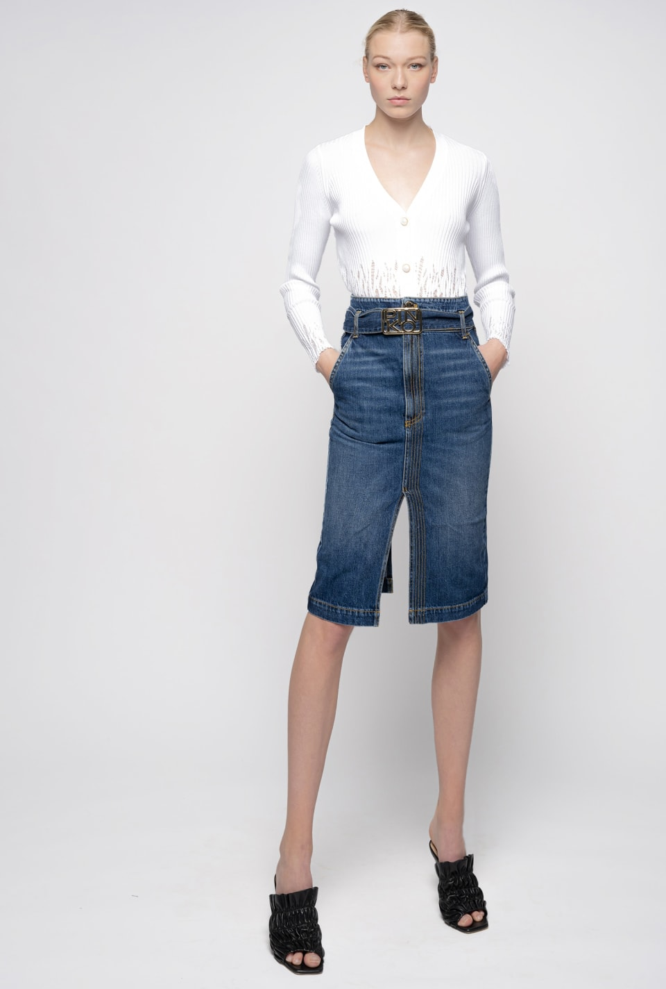 Gonna midi in denim - Pinko