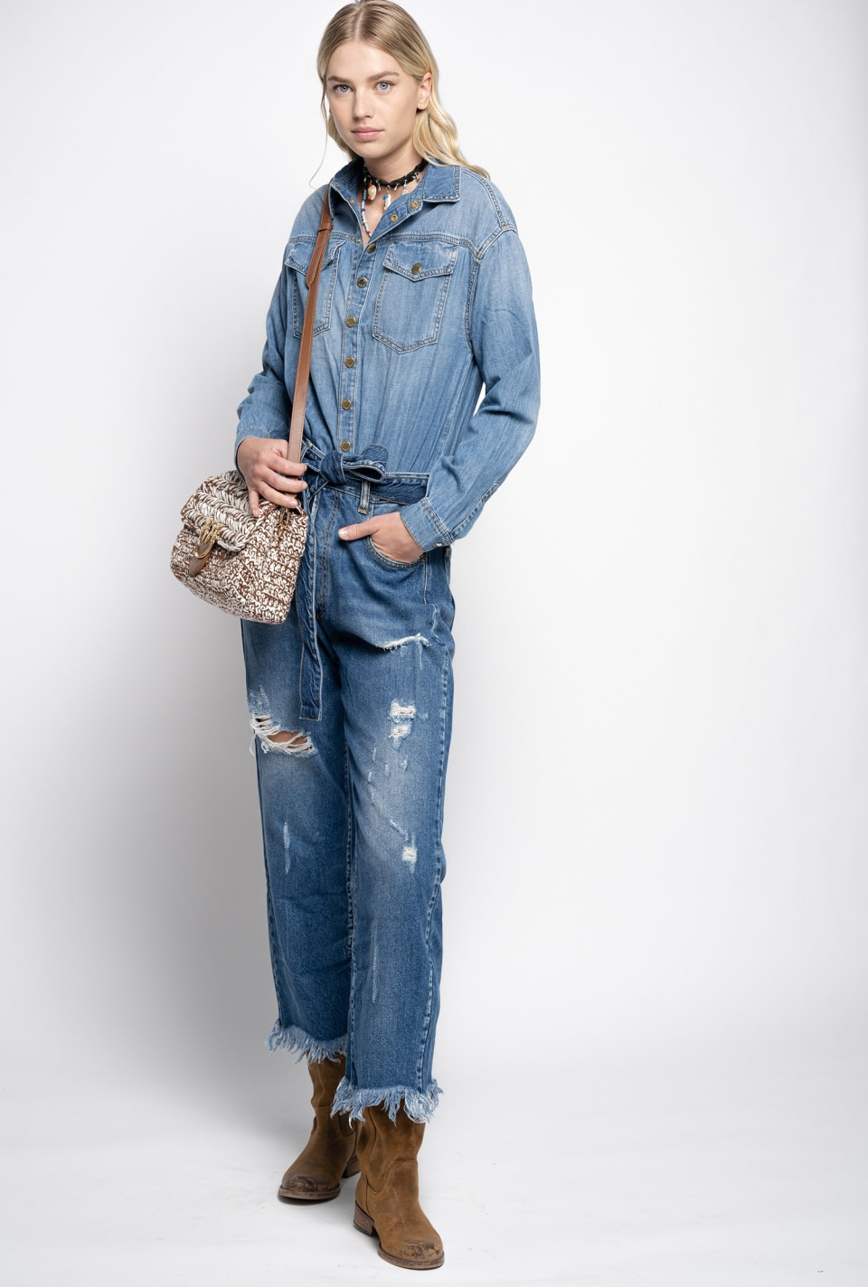 Total denim jumpsuit with rips - Pinko