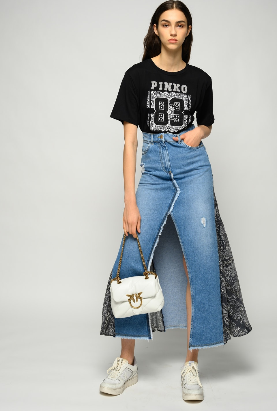 Long denim skirt featuring bandana-print inserts - Pinko