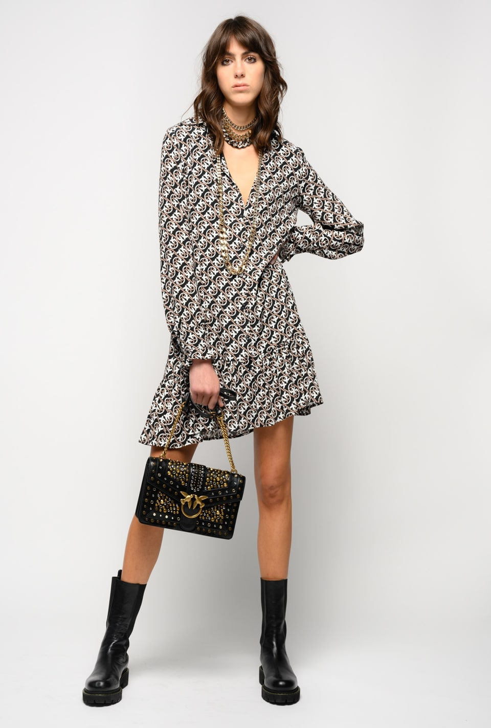 Monogram print mini shirtdress - Pinko