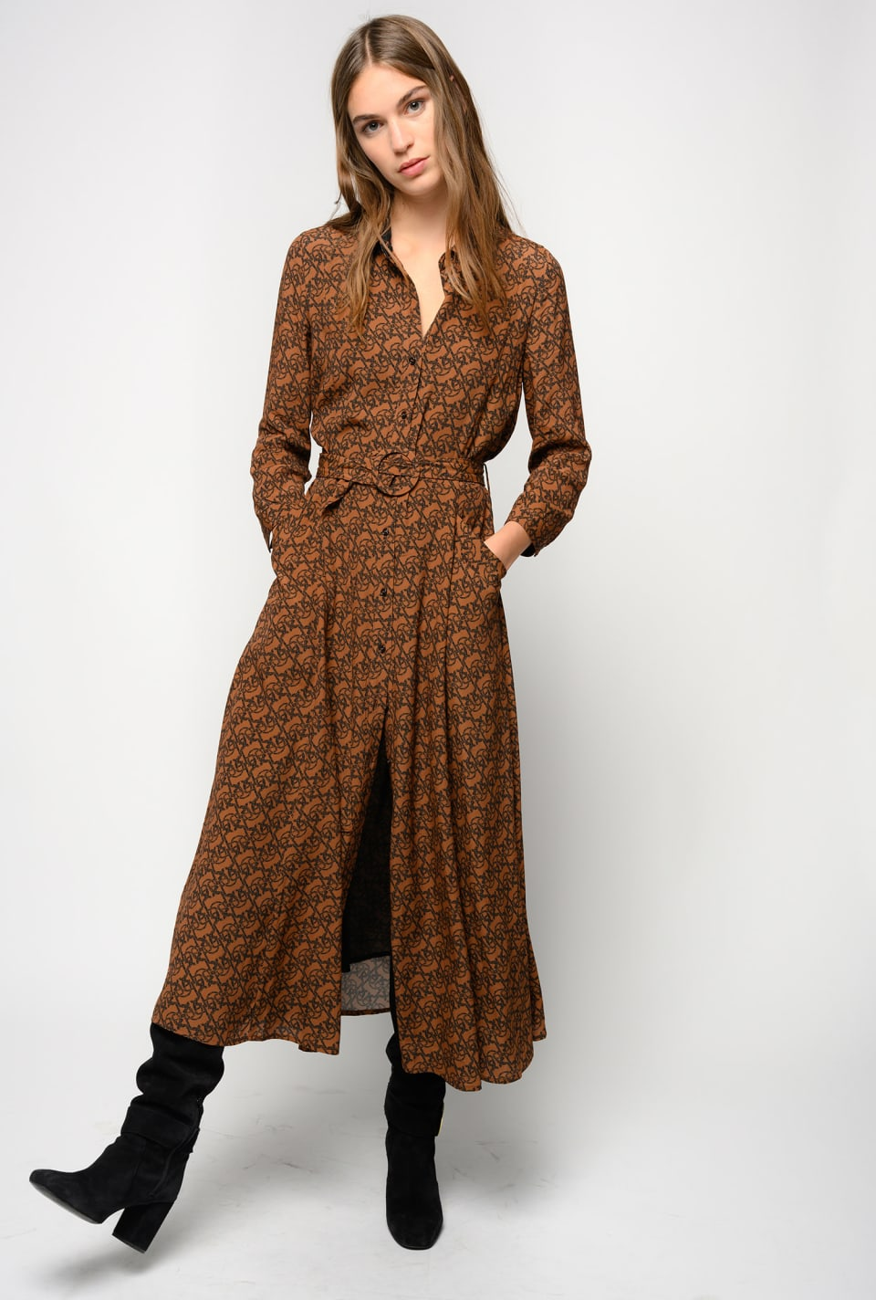 Maxi Monogram print shirtdress - Pinko