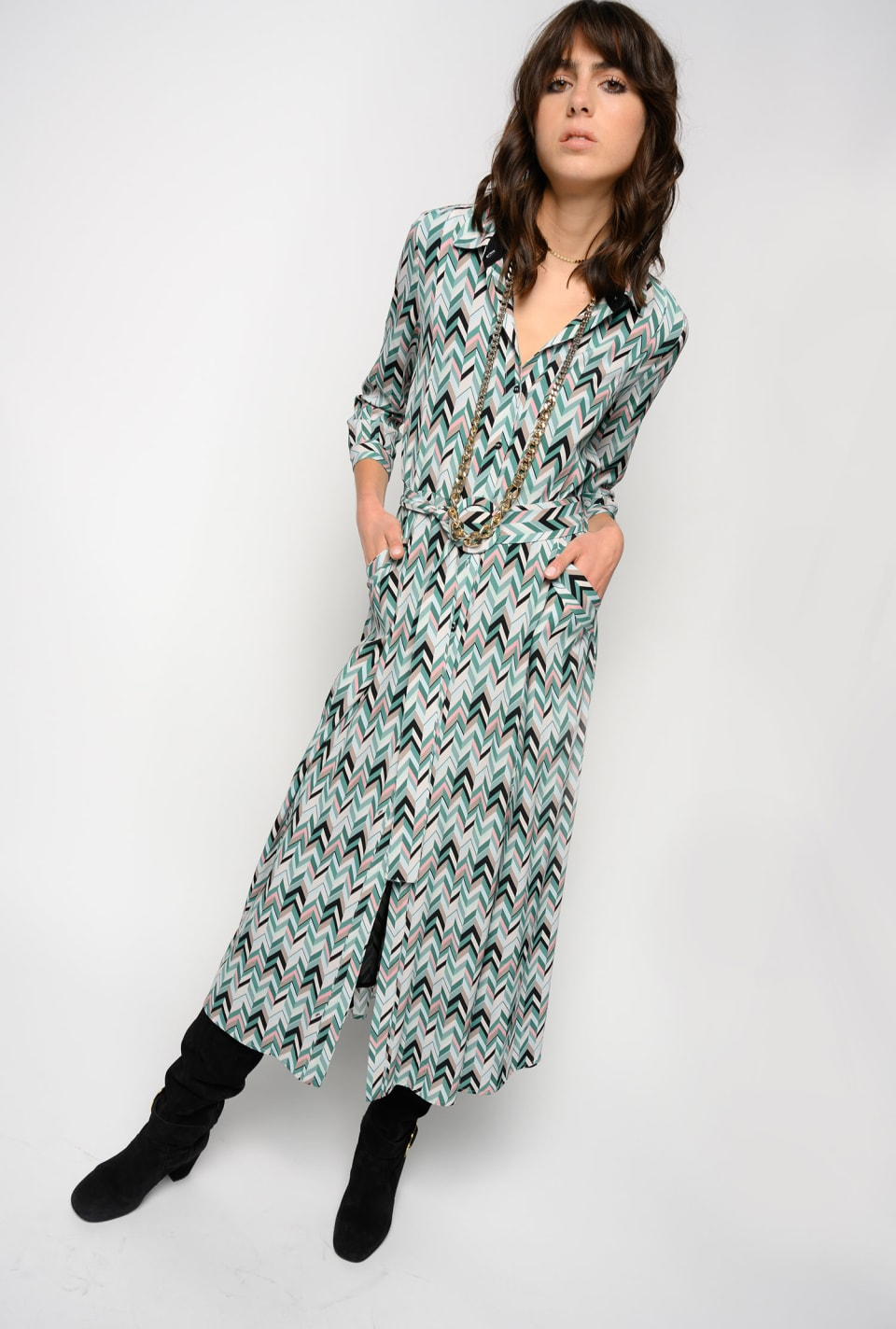 Chevron print maxi shirtwaister dress - Pinko