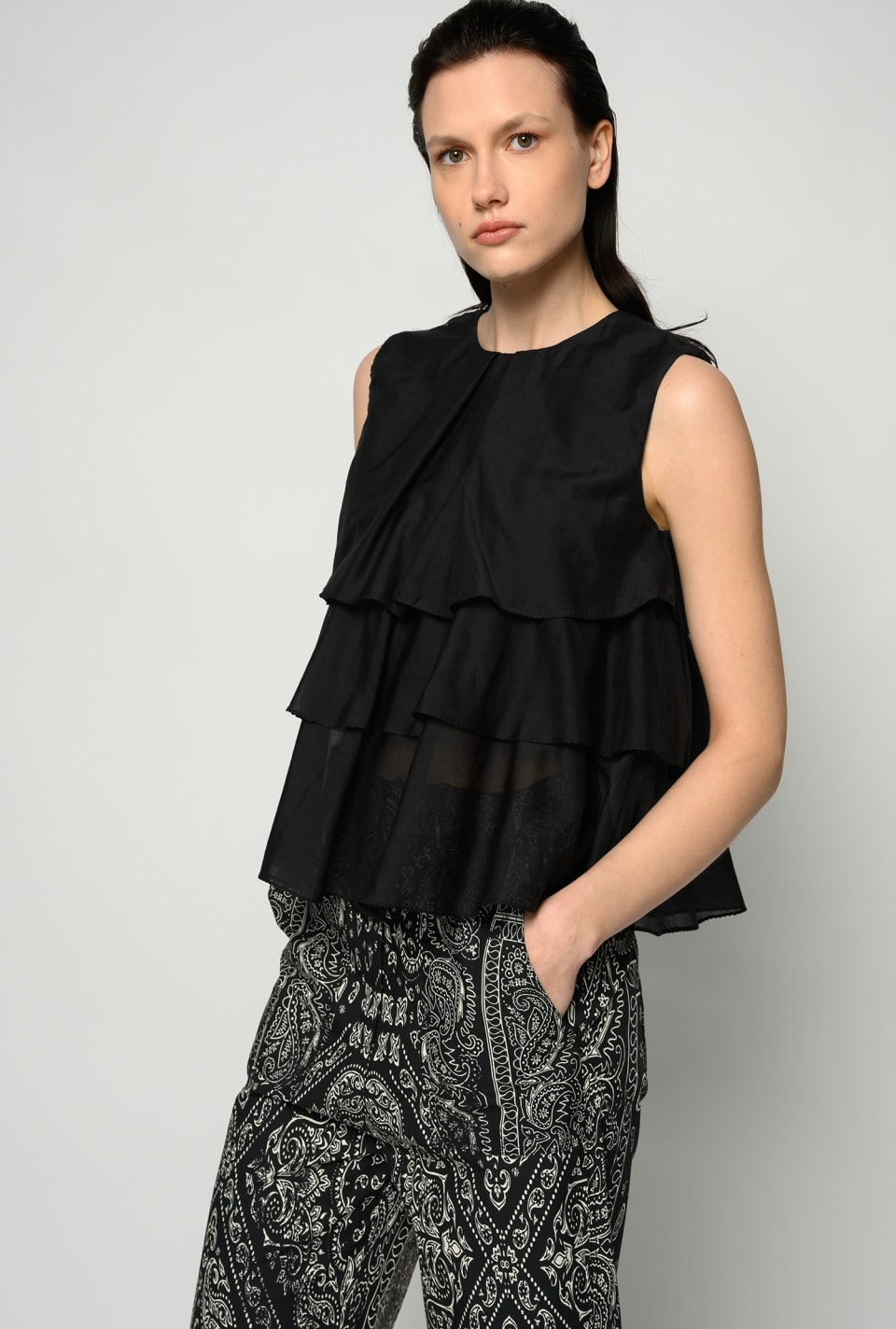 Voile flounce top - Pinko