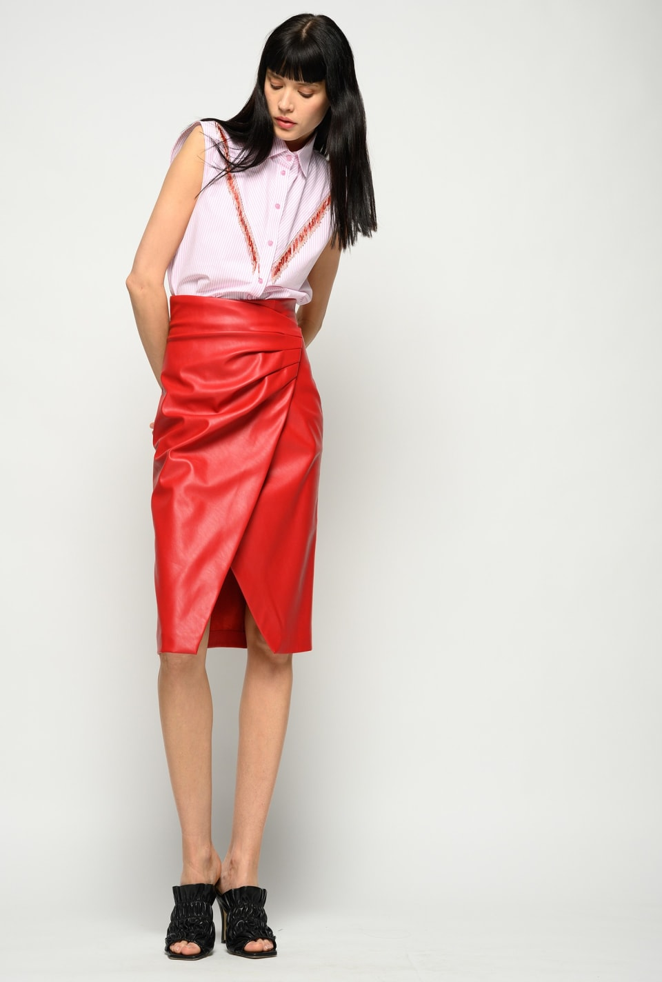 Leather-look midi-length skirt - Pinko