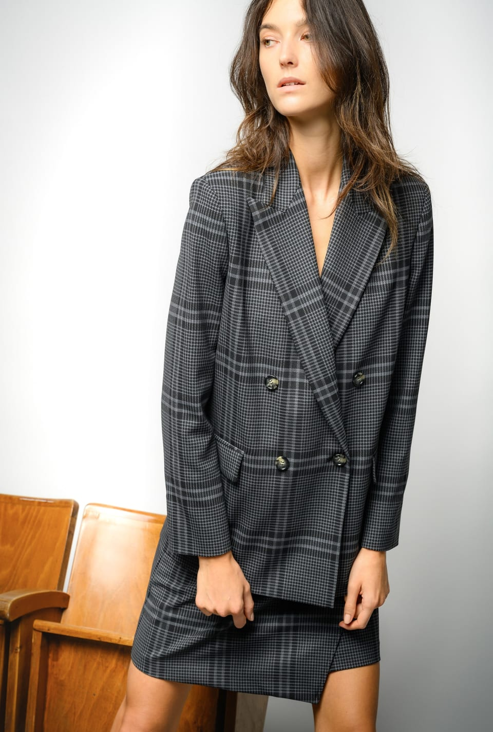 Stretch maxi check blazer - Pinko