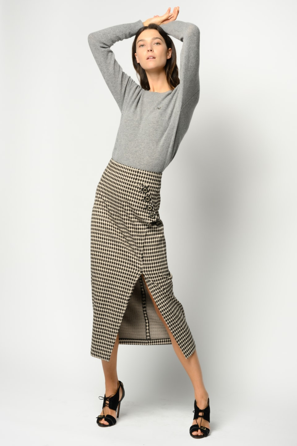 Long houndstooth pencil skirt - Pinko