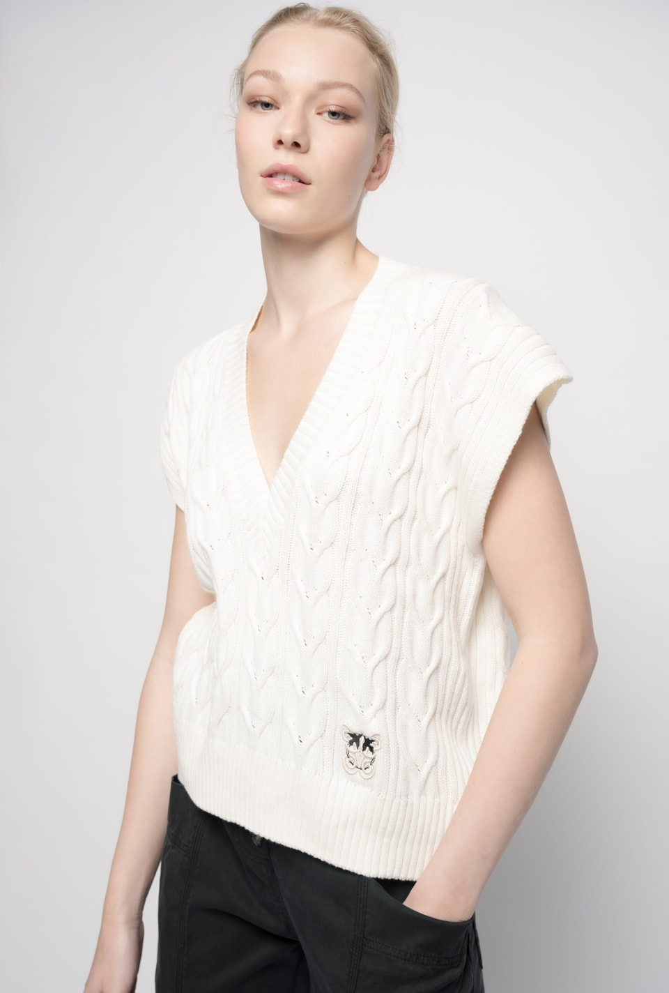 Braided knit waistcoat - Pinko