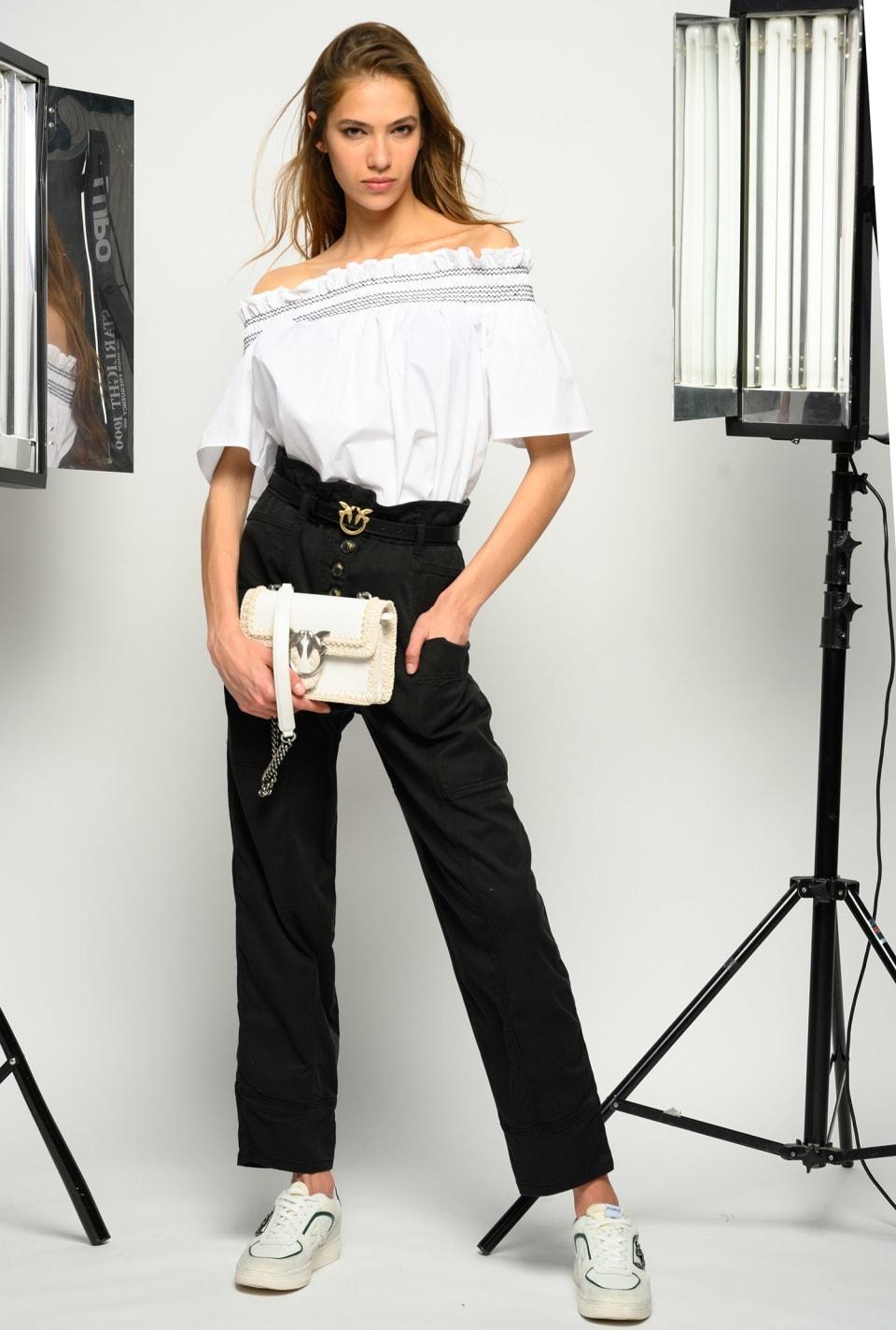 Gathered high-waist trousers - Pinko