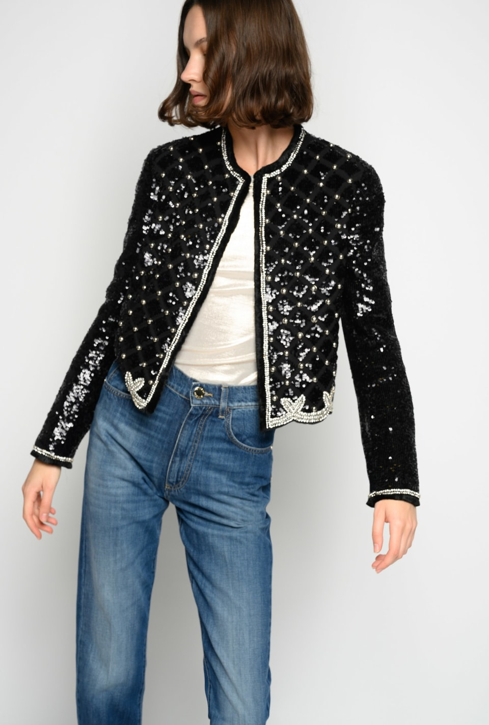 Fully sequinned boxy jacket - Pinko