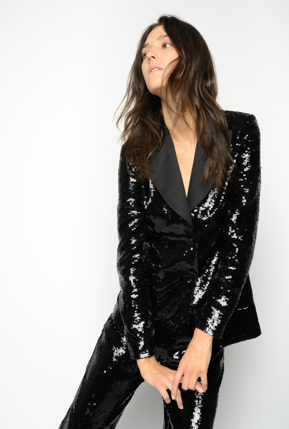 Tuxedo blazer covered with square sequins - Pinko