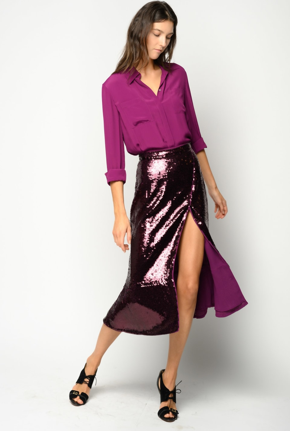 Mid-calf skirt covered with square sequins - Pinko