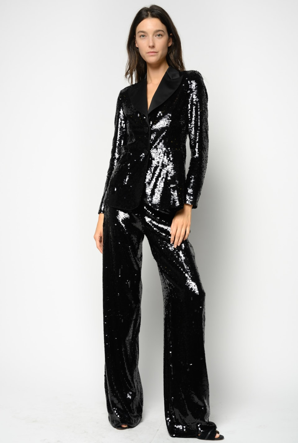 Tuxedo trousers covered with square sequins - Pinko