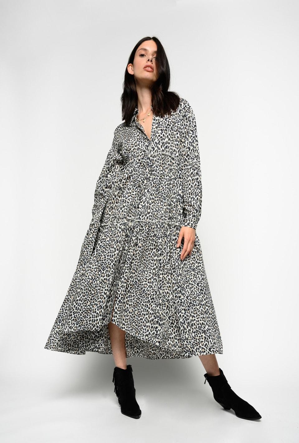 Maxi dress with mini spots - Pinko