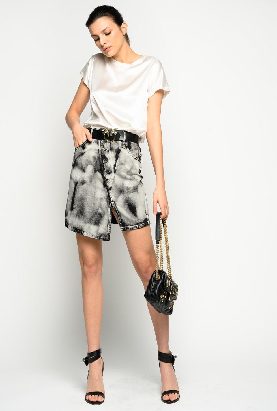 Marble-look mini skirt