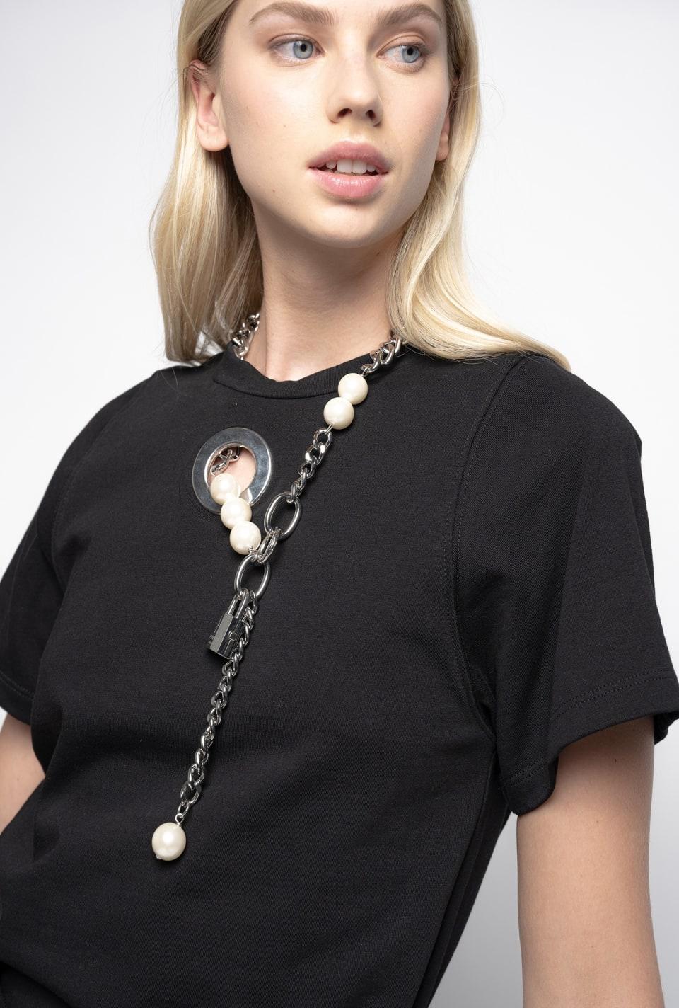 珍珠装饰T恤 - Pinko