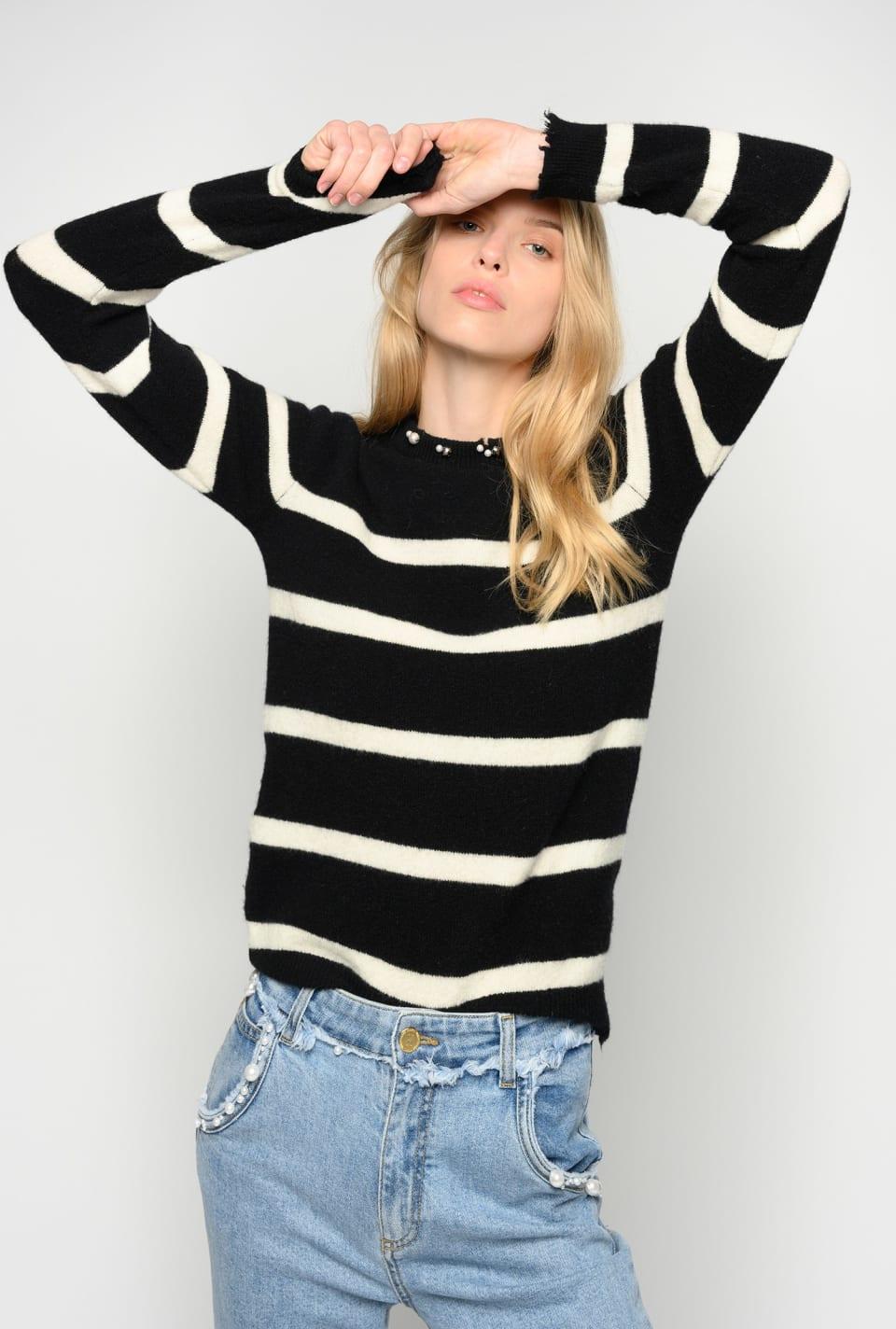 Suéter de rayas con perlas - Pinko