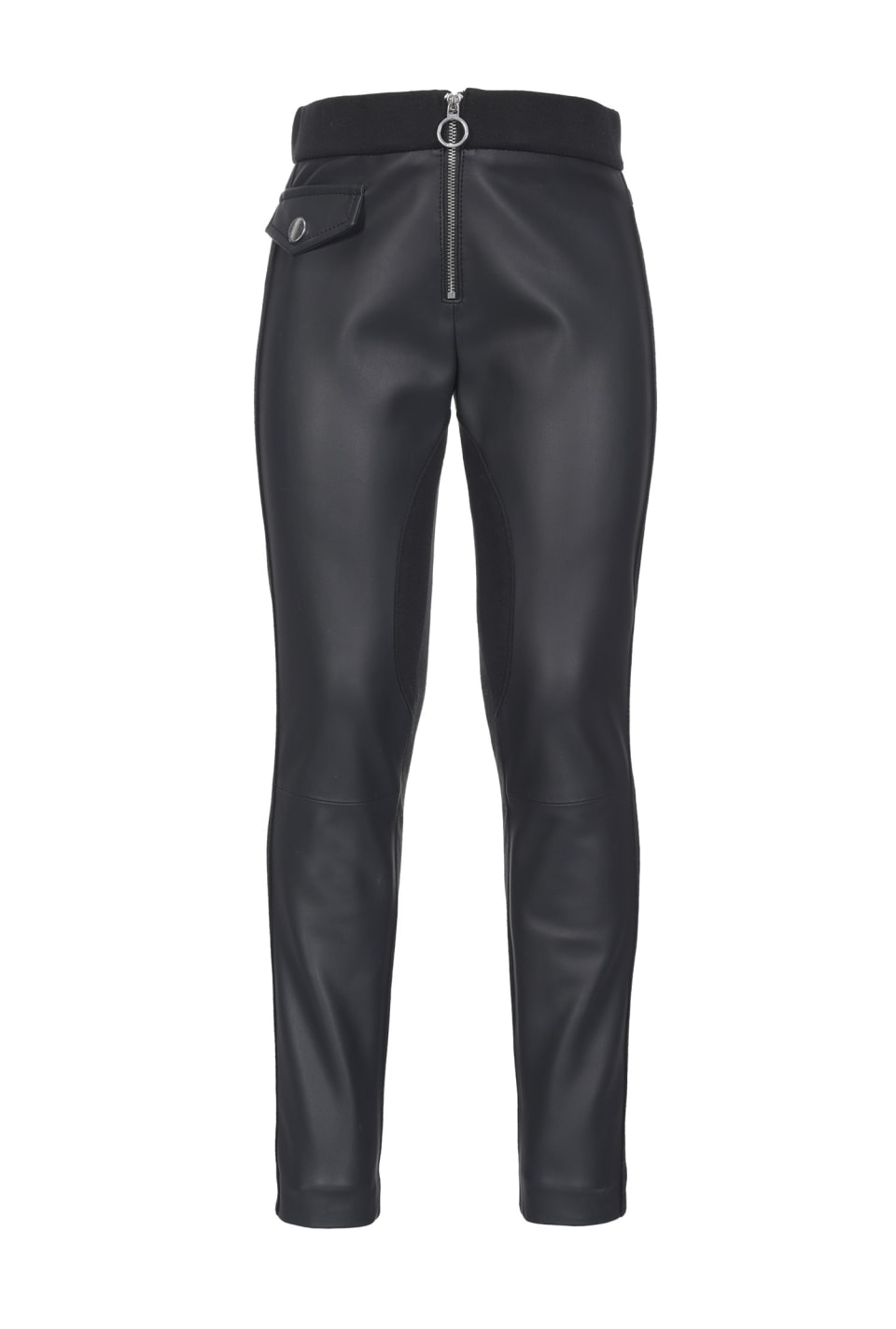 Dual-fabric skinny trousers
