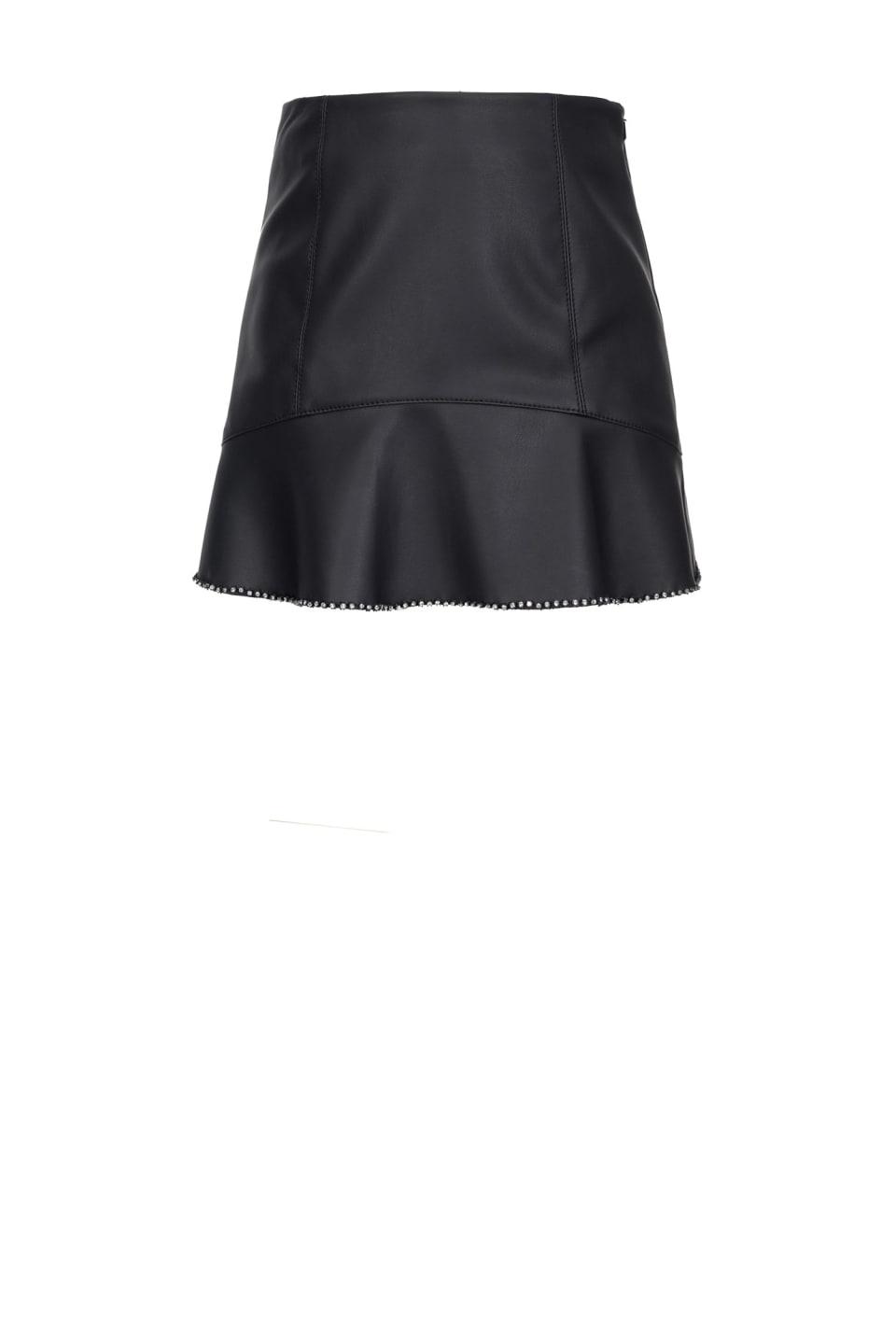 Leather-look skirt with rhinestones