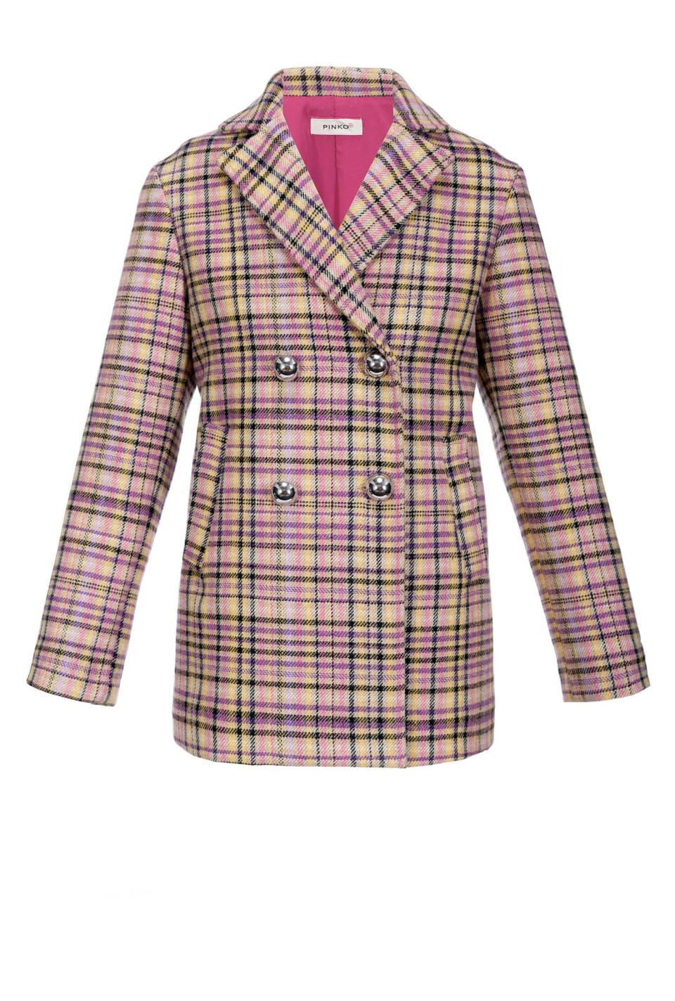 Checked Melton coat