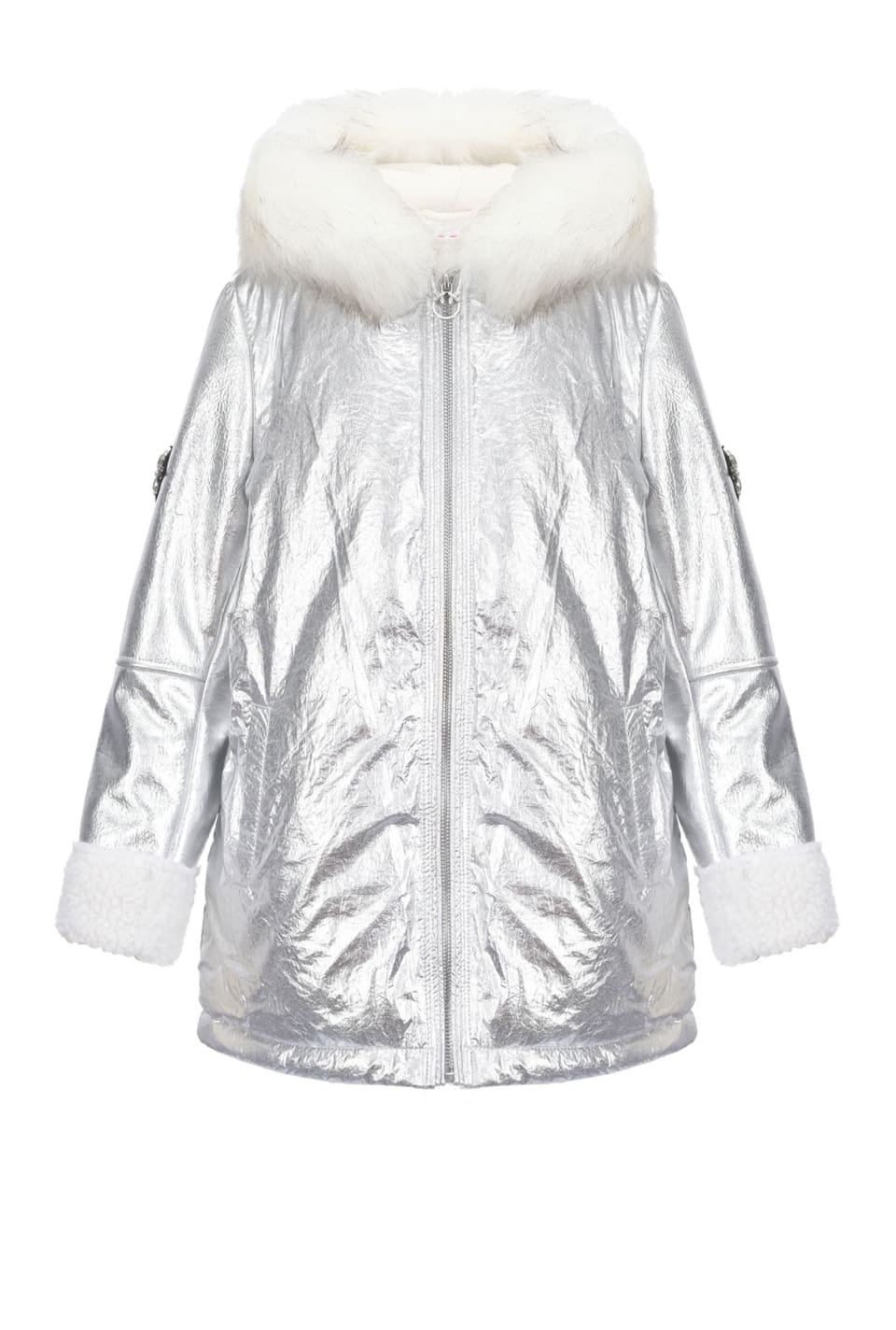 Silver parka with faux fur